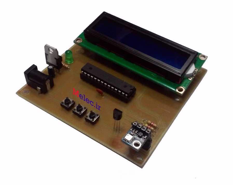 دماسنج و فشار سنج بارومتریک با سنسور BMP180 و میکروکنترلر AVR